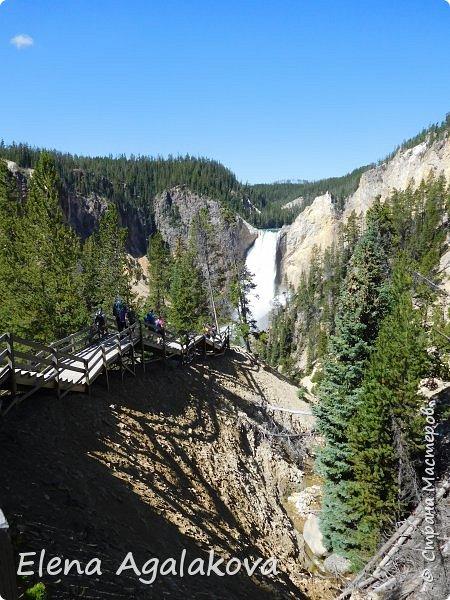 Продолжаю делится впечатлениями от поездки в Йе́ллоустон (Yellowstone National Park)— международный биосферный заповедник, объект Всемирного Наследия ЮНЕСКО, первый в мире национальный парк (основан 1 марта 1872 года). Находится в США, на территории штатов Вайоминг, Монтана и Айдахо. Парк знаменит многочисленными гейзерами и другими геотермическими объектами, богатой живой природой, живописными ландшафтами. ( взято из Википедии ) Мы останавливались в кемпингах в палатках. Парк произвел на нас огромное впечатление. Очень хочется поделится с вами красотой которую я увидела. В один фоторепортаж трудно вместить все увиденное поэтому это уже пятый и будут еще... В этот раз я покажу фото Большого каньона парка Йеллоустон.  Жалко что при загрузке фото уменьшаются и теряется качество поэтому смотрятся картинки плоско... но с этим я ничего поделать не могу. фото 13