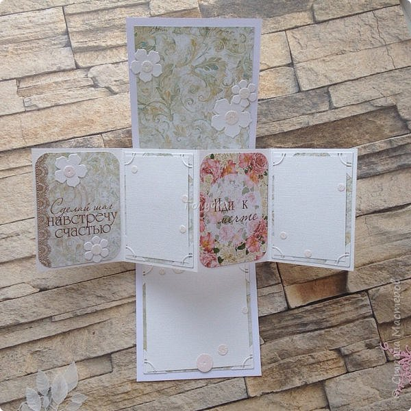 """Конечно это открытка , скорее с элементом pop-up, который представлен выдвижной демонстрационной панелью , но смотрится очень здорово:) А делается легко:)  Для всех открыток, которые Вы увидите в этом посте мы использовали бумагу и карточки от FLEUR, коллекцию """"Забытое лето"""" . Ножи от АгиАрт и Fantasy/ фото 3"""