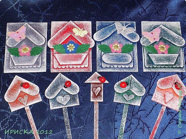 Приветствую всех гостей моей странички!!! Я сегодня с очередной серией АТС. Заготовки сувенирных домиков лежали с прошлого года, по образу и подобию сделаны мои карточки и все вместе покрашены. По ходу работы над карточками родились еще маленькие домики для цветочных вазонов, но обо всём по порядку. К выбору карточек приглашаю Элайджу и Svetlana Ch. фото 1