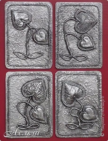 """Моя вторая серия """" Росток любви (серебро)"""". Основа картон + обои, сердечки из соленого теста и из картона + обои, стебли из салфеточных жгутиков, по контуру скрученная суровая нить.  Рождение Любви - большой секрет: Она тысячелетия вновь и вновь Нас убеждает в том, что смерти нет! Есть Жизнь, есть Бог, есть Вечная Любовь. (Татьяна Афанасьева1) фото 2"""