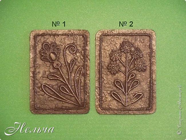 """Решила сделать АТС карточки в технике пейп-арт, так как увлеклась этой техникой. Серия называется """"Гербарий (бронза)"""". Основа картон + обои, цветы - кружево, стебли и листья - салфеточные жгутики, по контуру скрученная суровая нить. И вот, что у меня получилось. фото 3"""