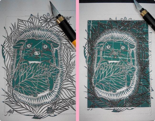 """Всем доброго времени суток! Вашему вниманию хочу представить новую открытку. (Эскиз для этой открытки был нарисован ещё в начале года, но не хватало мастерства для его реализации. И это """"юбилейная- 50-я""""работа в стиле открытки.) - Рисунок для эскиза был взят на просторах интернета. Эскиз был выполнен, изменён и доработан под """"вырезалку"""". - Размер 12х16см.  фото 3"""