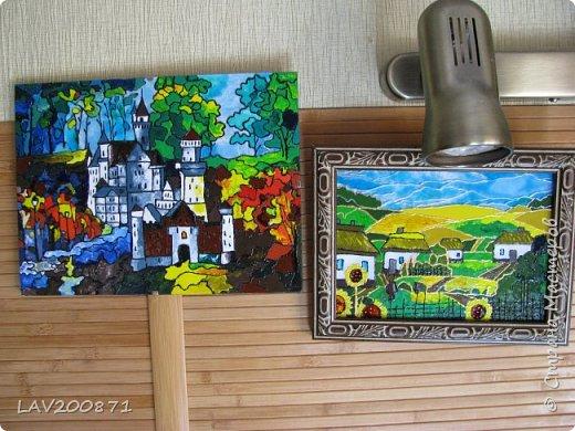 Всем привет. выкладываю свои новые работы.... картины на стекле витражными красками Декола. фото 5