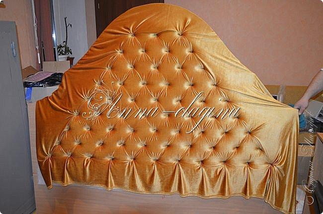 Всем привет! Давно меня здесь не было, почти год... Сегодня я с мастер-классом по изготовлению кровати с мягким изголовьем своими руками. Кровать у меня с основанием 1800х2000, для работы использовала лдсп 26 мм, поролон 10, 30, 60 мм, ткань бархатную, степлер мебельный, пуговицы мебельные, капроновые нити, клей, ну и самое главное-РУКИ! фото 20