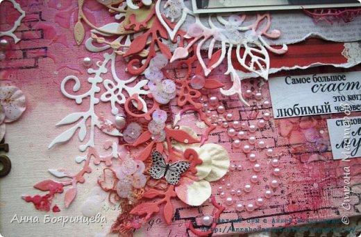 Всем привет!!!!! Забежала показать холст, его делала на подарок родителям на коралловую свадьбу. Отсюда цвет основной коралловый)))) и много вырубки, многослойности и объёма. А так же много разных штампов, топингов, бусинок. Писать сегодня много не буду, ждут заказы. Поэтому смотрите)))) фото 6