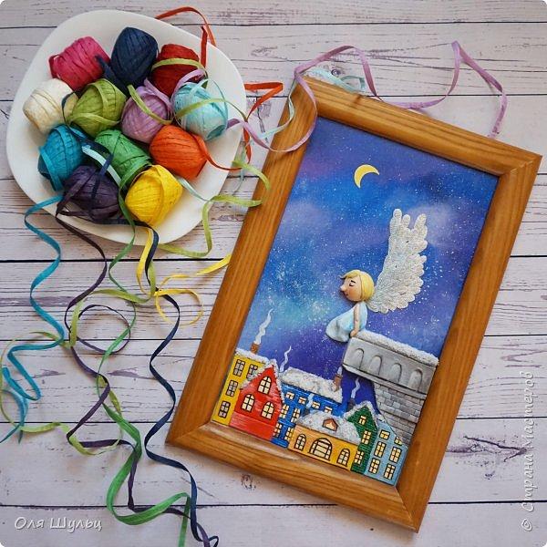 Всем привет)))) Казалось бы за окном летняя жара, а ангел получился зимний.  Размер картины 25х41 см  фото 1