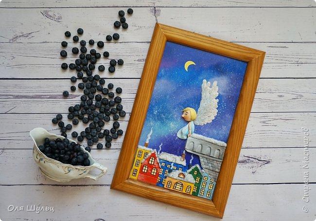 Всем привет)))) Казалось бы за окном летняя жара, а ангел получился зимний.  Размер картины 25х41 см  фото 7