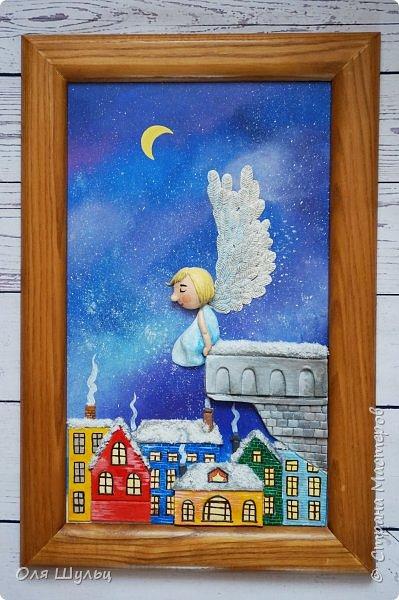 Всем привет)))) Казалось бы за окном летняя жара, а ангел получился зимний.  Размер картины 25х41 см  фото 2