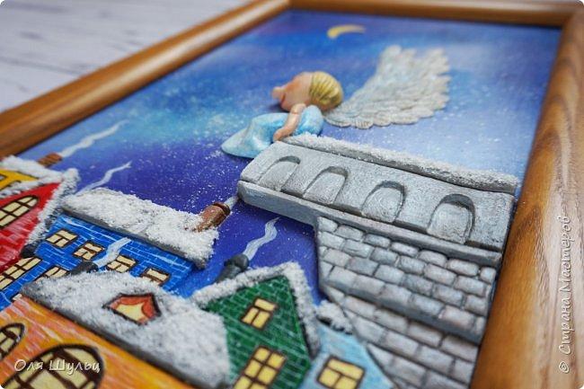 Всем привет)))) Казалось бы за окном летняя жара, а ангел получился зимний.  Размер картины 25х41 см  фото 4