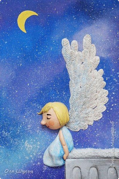 Всем привет)))) Казалось бы за окном летняя жара, а ангел получился зимний.  Размер картины 25х41 см  фото 6