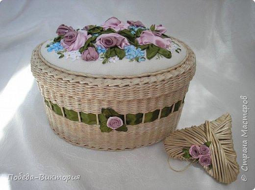 Всем работающим и отдыхающим большой привет!  Сегодня в моем посте две шкатулки - круглой и овальной формы. И розы, много роз, выполнены ленточками!  фото 18