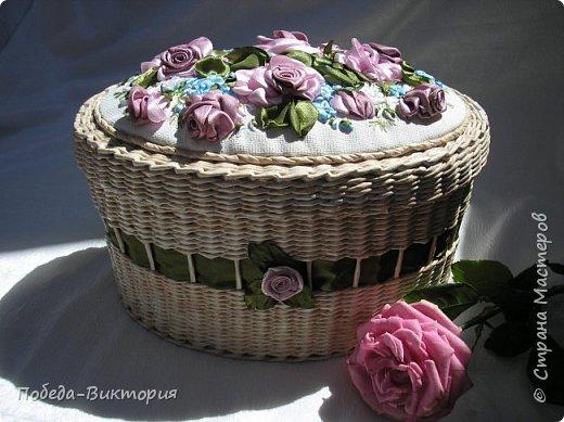 Всем работающим и отдыхающим большой привет!  Сегодня в моем посте две шкатулки - круглой и овальной формы. И розы, много роз, выполнены ленточками!  фото 17