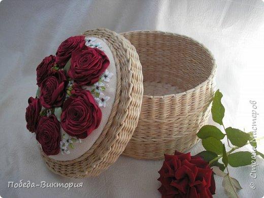Всем работающим и отдыхающим большой привет!  Сегодня в моем посте две шкатулки - круглой и овальной формы. И розы, много роз, выполнены ленточками!  фото 35