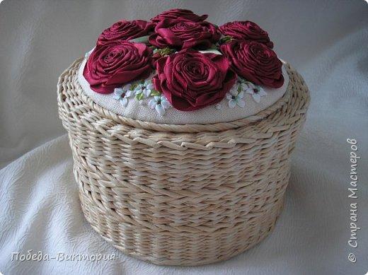 Всем работающим и отдыхающим большой привет!  Сегодня в моем посте две шкатулки - круглой и овальной формы. И розы, много роз, выполнены ленточками!  фото 28