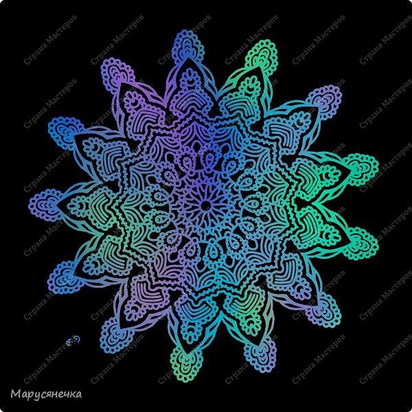 Очень люблю рисовать мандалы, такие они всегда получаются гармоничные... каждая из них особенна)) А вам нравятся такие яркие творения? фото 5