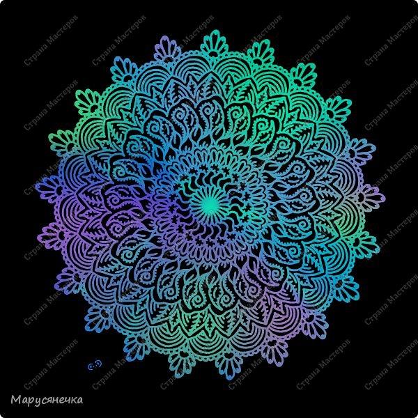 Очень люблю рисовать мандалы, такие они всегда получаются гармоничные... каждая из них особенна)) А вам нравятся такие яркие творения? фото 3
