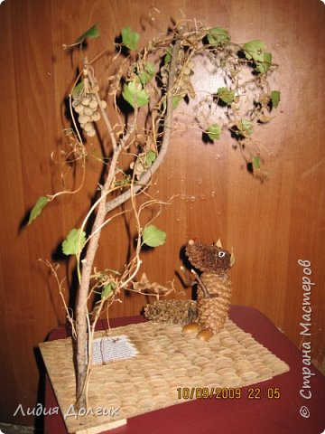 Внуку в школу на праздник осени сделали вот такую иллюстрацию к басне Лиса и виноград фото 3