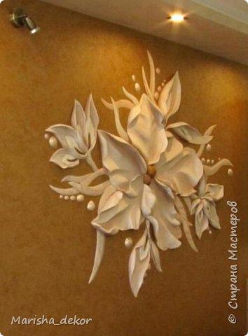 """Здравствуйте) Новая работа, барельеф размером 1.70х1.40 примерно.. Листья выступают до 5-7см. Покрашен матовой краской, серединка позолочена """"бронзой"""", капельки вокруг цветка перламутровые. фото 2"""