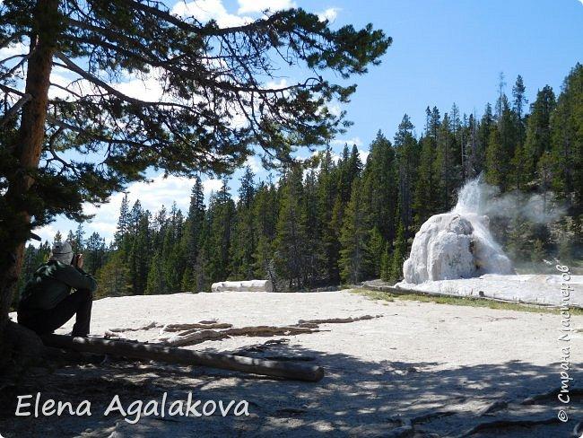 Продолжаю делится впечатлениями от поездки в Йе́ллоустон (Yellowstone National Park)— международный биосферный заповедник, объект Всемирного Наследия ЮНЕСКО, первый в мире национальный парк (основан 1 марта 1872 года). Находится в США, на территории штатов Вайоминг, Монтана и Айдахо. Парк знаменит многочисленными гейзерами и другими геотермическими объектами, богатой живой природой, живописными ландшафтами. ( взято из Википедии ) Мы останавливались в кемпингах в палатках. Парк произвел на нас огромное впечатление. Очень хочется поделится с вами красотой которую я увидела. В один фоторепортаж трудно вместить все увиденное поэтому это уже седьмой, последний.  Сегодня я расскажу про Гейзер Одинокая звезда (Lone Star Geyser )  Жалко что при загрузке фото уменьшаются и теряется качество поэтому смотрятся картинки плоско... но с этим я ничего поделать не могу. фото 13