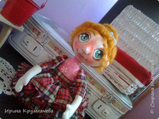 Девочка Сонечка. Пошита из хлопковой тонированной  ткани, ручки и ножки гнутся. фото 5