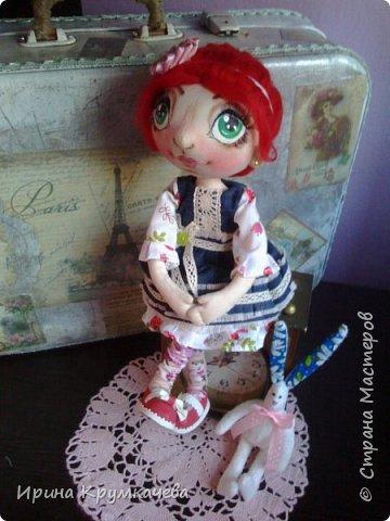 Девочка Сонечка. Пошита из хлопковой тонированной  ткани, ручки и ножки гнутся. фото 1