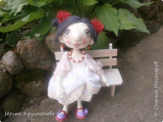 Девочка Сонечка. Пошита из хлопковой тонированной  ткани, ручки и ножки гнутся. фото 2