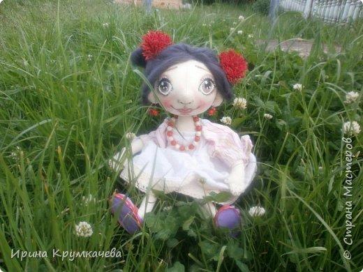 Девочка Сонечка. Пошита из хлопковой тонированной  ткани, ручки и ножки гнутся. фото 3