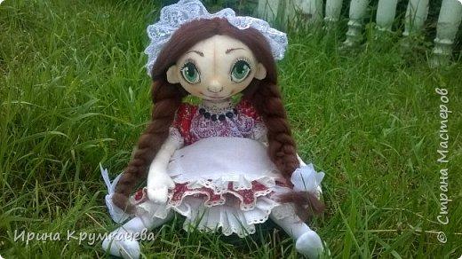 Девочка Сонечка. Пошита из хлопковой тонированной  ткани, ручки и ножки гнутся. фото 4