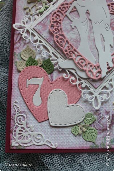 Всем здравствуйте! Здравствуйте и процветайте! Сегодня годовщина свадьбы дочери. И вчера я сделала такую открытку для моих любимых деток. Дела с удовольствием, очень соскучившись по скрапу. Хотелось сделать в желто-золотых тонах (у Саши было платье с тонкой золотой отделкой). Сделала и стала искать стихотворение и выясняется, что свадьба-то Медная!!! а у меня все розовое. Отошла я от дел, все позабыла, а ведь раньше то я все юбилейные свадьбы помнила. Позор моей седой голове. фото 9