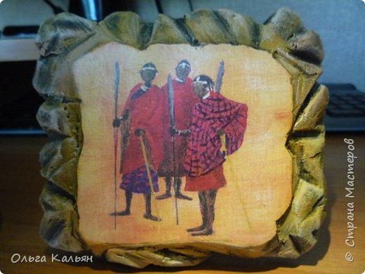 """Вот такие панношки на тему """"Африка"""" у меня получились из остатков пеноплекса. Мне очень понравилось с ним работать, жаль только, что кусочки маленькие. Но мне повезло, нашла подходящую декупажную карту.   фото 3"""