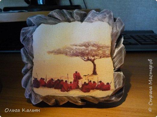 """Вот такие панношки на тему """"Африка"""" у меня получились из остатков пеноплекса. Мне очень понравилось с ним работать, жаль только, что кусочки маленькие. Но мне повезло, нашла подходящую декупажную карту.   фото 7"""