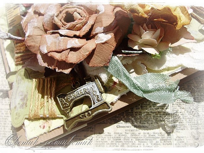 Доброго времени суток всем друзьям и гостям моей странички! У меня сегодня открытка швейная - винтажная! Для моей любимой подруги - швеи и вышивальщицы! Пусть любая работа в ее руках спорится! Пусть времени на любимое дело будет с избытком! фото 7