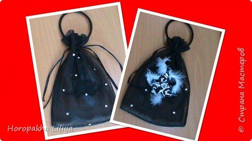 Композиция из цветов канзаши, оформление клатч-сумочки из органзы