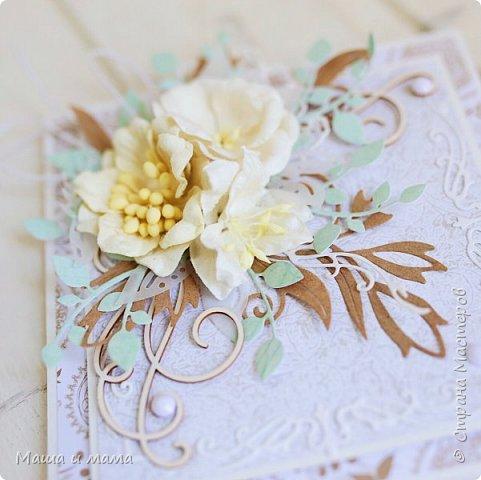 Здравствуйте-здравствуйте!!!  Возвращаюсь к свадебной тематике. Сегодня вот такой конверт. Листья на моём мониторе почему-то кажутся голубыми или даже мятными, но на самом деле они цвета молодой зелени. Ну это частности. Приятного просмотра. В конце для сравнения оригинал букета невесты, по которому традиционно делаю оформление.  фото 3