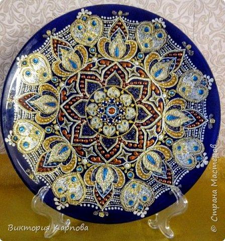 Тарелка в технике точечная роспись № 2 фото 1