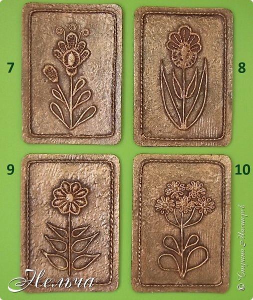 """Решила сделать АТС карточки в технике пейп-арт, так как увлеклась этой техникой. Серия называется """"Гербарий (бронза)"""". Основа картон + обои, цветы - кружево, стебли и листья - салфеточные жгутики, по контуру скрученная суровая нить. И вот, что у меня получилось. фото 6"""