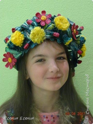 """Здравствуйте, жители Страны Мастеров!!! """"Я так хочу, чтобы лето не кончалось..."""", а август уже вовсю шагает!  Венок- ободок """" Полевые цветы"""". Сделала для участия в выставке. Модель- моя младшая дочечка. Ободок ей , конечно, велик, но задумка , я думаю, понятна. фото 4"""
