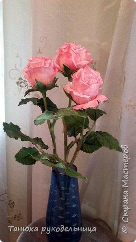 Здравствуйте все!  Вот наконец то слепила розы в перерывах между летними заботами. Лето  в этом году нас не радует теплом, цветы постоянно заливает дождь, так что буду любоваться тем, что сделала своими руками. фото 1