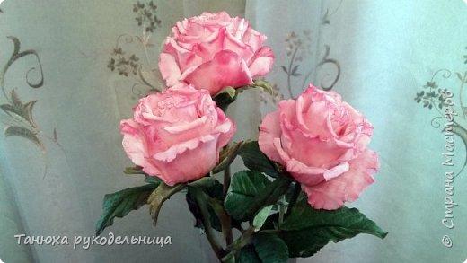 Здравствуйте все!  Вот наконец то слепила розы в перерывах между летними заботами. Лето  в этом году нас не радует теплом, цветы постоянно заливает дождь, так что буду любоваться тем, что сделала своими руками. фото 2