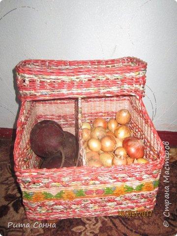 Вот такой получился домик для овощей .Трубочки крутила из рекламок,а которые светлые ,красила морилкой ТИК, полосочка декупажа из салфеточки фото 3