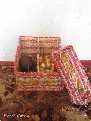 Вот такой получился домик для овощей .Трубочки крутила из рекламок,а которые светлые ,красила морилкой ТИК, полосочка декупажа из салфеточки фото 4