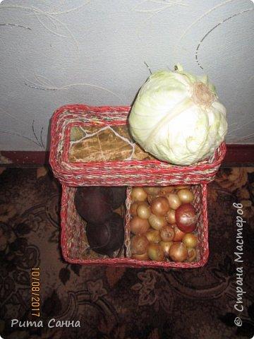 Вот такой получился домик для овощей .Трубочки крутила из рекламок,а которые светлые ,красила морилкой ТИК, полосочка декупажа из салфеточки фото 8