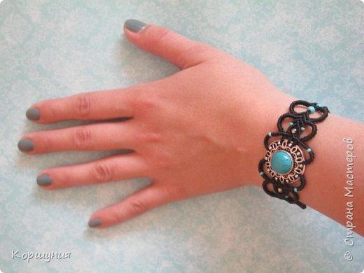 Всем привет.Показываю вам мой браслет с бирюзой,выполненный в технике микромакраме. фото 5