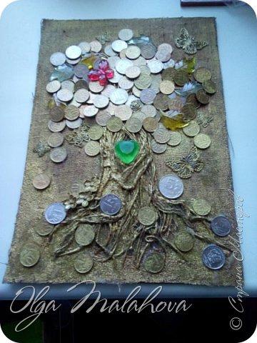 Всем привет! представляю свою новую работу, денежное дерево.Хочу подарить ее на свадьбу.  Немного расскажу , как делала.В основе ствола дерева -салфетки 3х и 2х слойные,и нитки шпагат.и клей ПВА. фото 9