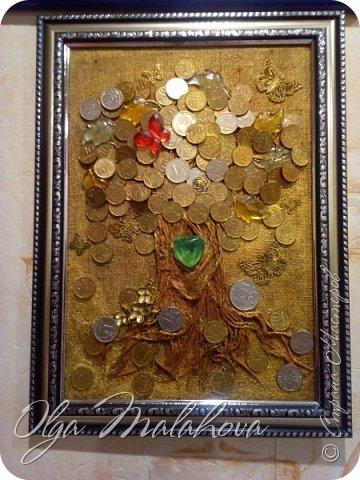 Всем привет! представляю свою новую работу, денежное дерево.Хочу подарить ее на свадьбу.  Немного расскажу , как делала.В основе ствола дерева -салфетки 3х и 2х слойные,и нитки шпагат.и клей ПВА. фото 1