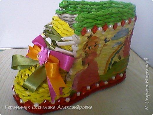 Шкатулка - ботинок из бумажных трубочек .Увидела   МК   для начинающих  у замечательной  мастерицы Елены Пузановой . фото 1