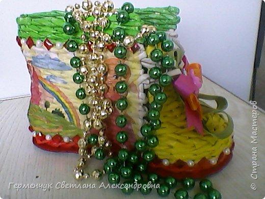 Шкатулка - ботинок из бумажных трубочек .Увидела   МК   для начинающих  у замечательной  мастерицы Елены Пузановой . фото 26