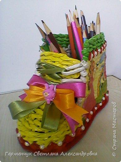 Шкатулка - ботинок из бумажных трубочек .Увидела   МК   для начинающих  у замечательной  мастерицы Елены Пузановой . фото 30