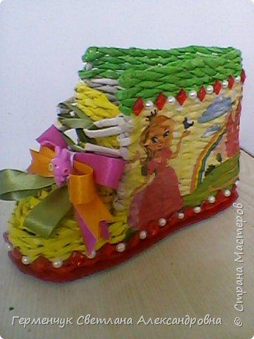 Шкатулка - ботинок из бумажных трубочек .Увидела   МК   для начинающих  у замечательной  мастерицы Елены Пузановой . фото 31