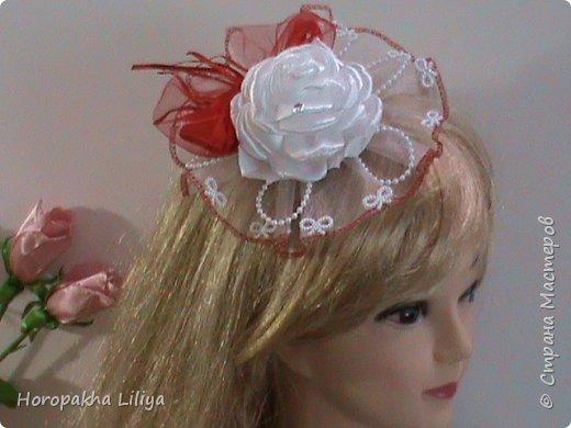 Если у Вас свадьба - bicolor. Шляпка для невесты и не только в красно белых тонах в стиле канзаши фото 1